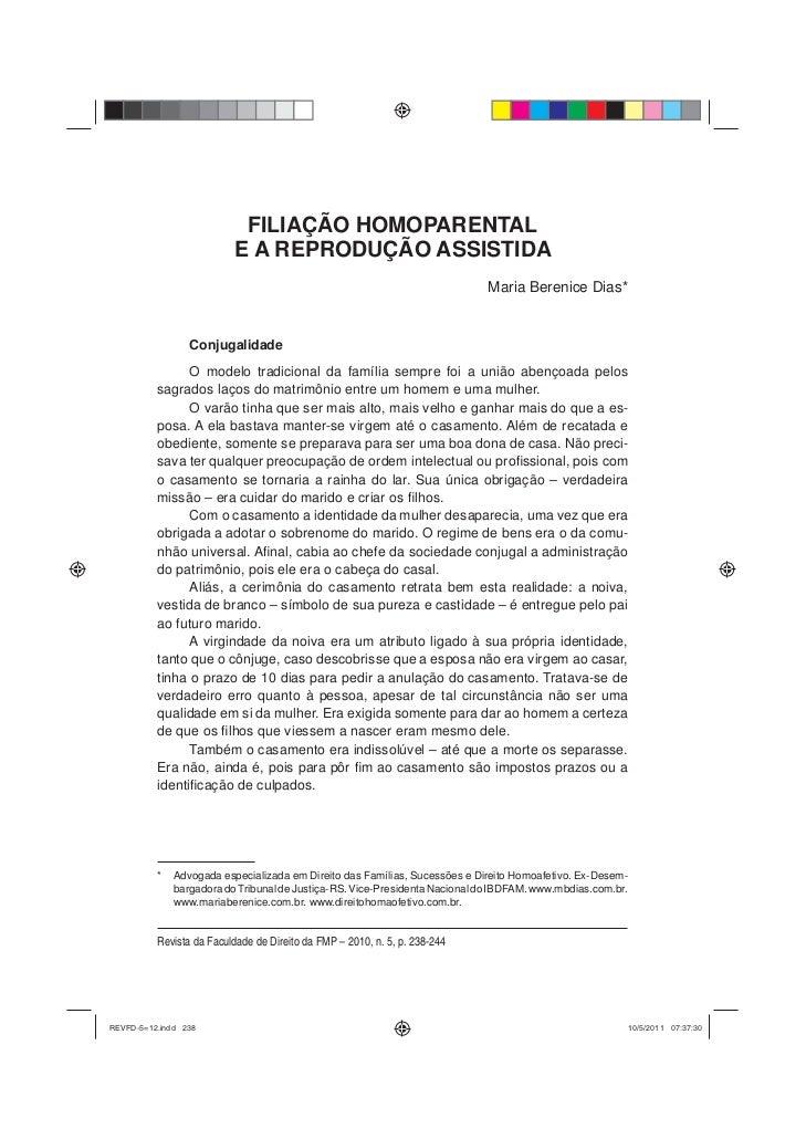 Artigo Filiação Homoparental e a Reprodução Assistida