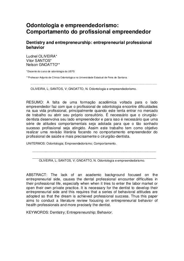 Artigo odontologia e empreendedorismo comportamento do profissional empreendedor