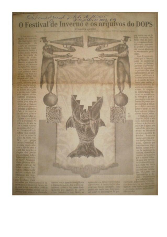 Artigo o festival de inverno e os arquivos do dops, de otávio luiz machado