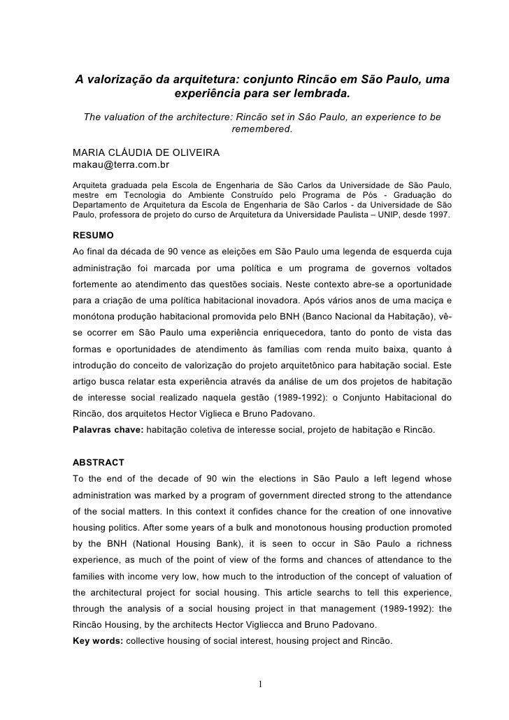 A valorização da arquitetura: conjunto Rincão em São Paulo, uma                  experiência para ser lembrada.   The valu...