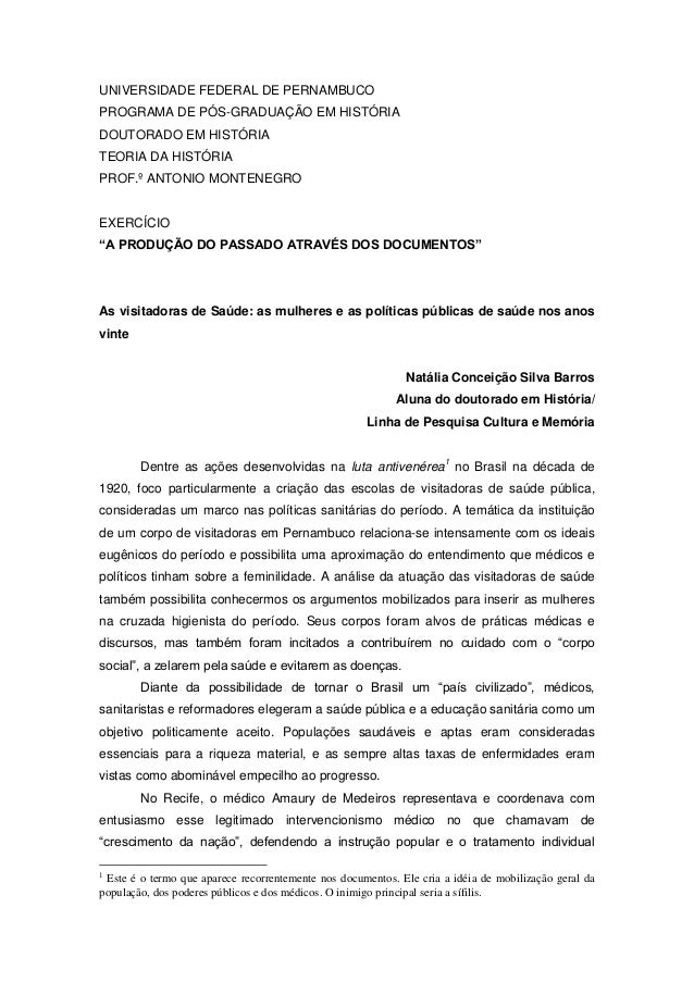 UNIVERSIDADE FEDERAL DE PERNAMBUCO PROGRAMA DE PÓS-GRADUAÇÃO EM HISTÓRIA DOUTORADO EM HISTÓRIA TEORIA DA HISTÓRIA PROF.º A...