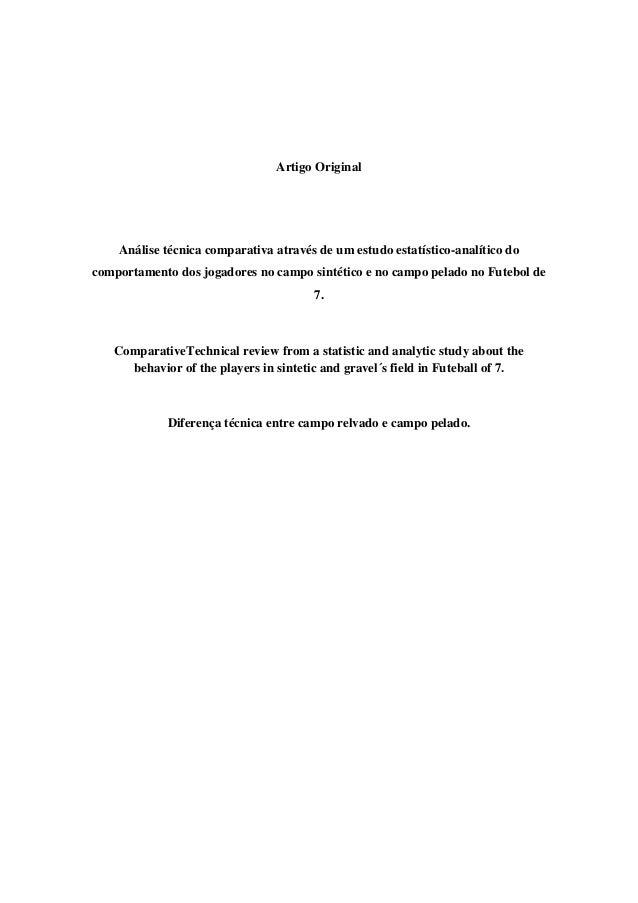 Artigo Original  Análise técnica comparativa através de um estudo estatístico-analítico do comportamento dos jogadores no ...