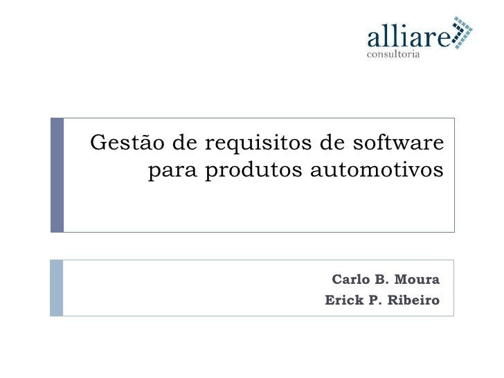 Artigo Sbc 2009 - Gestão de requisitos de software para produtos automotivos