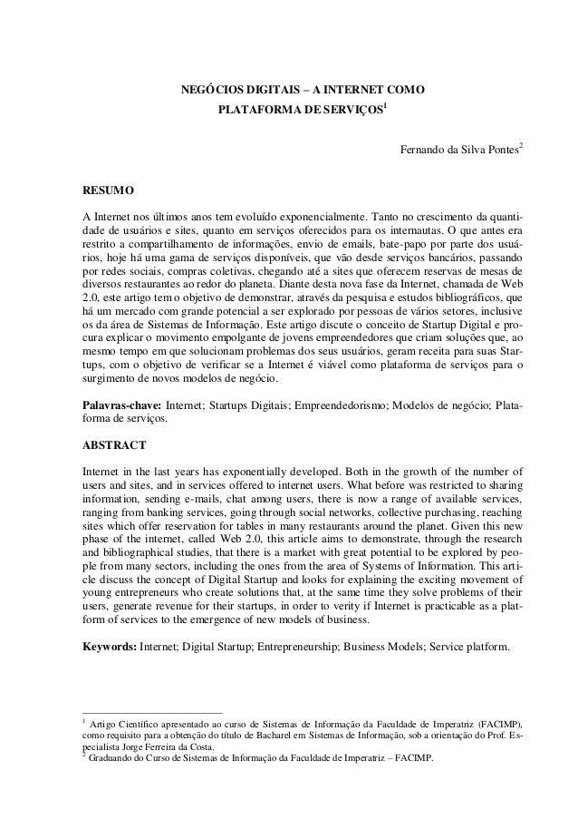 NEGÓCIOS DIGITAIS – A INTERNET COMO                                 PLATAFORMA DE SERVIÇOS1                               ...