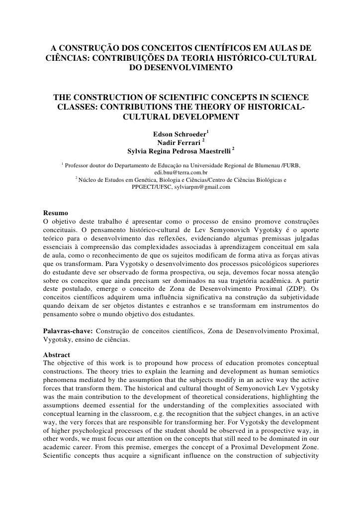 A CONSTRUÇÃO DOS CONCEITOS CIENTÍFICOS EM AULAS DE CIÊNCIAS: CONTRIBUIÇÕES DA TEORIA HISTÓRICO-CULTURAL                  D...