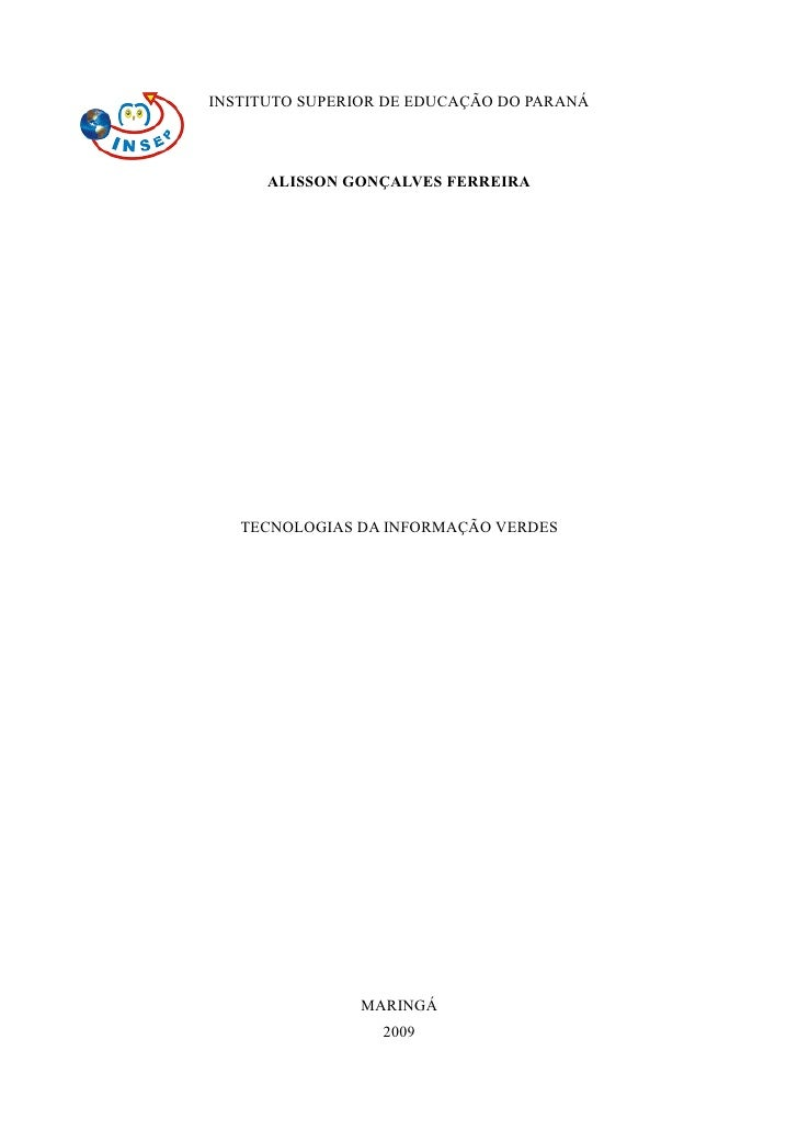 Artigo Ti Verde Insep Alisson Ferreira 2009