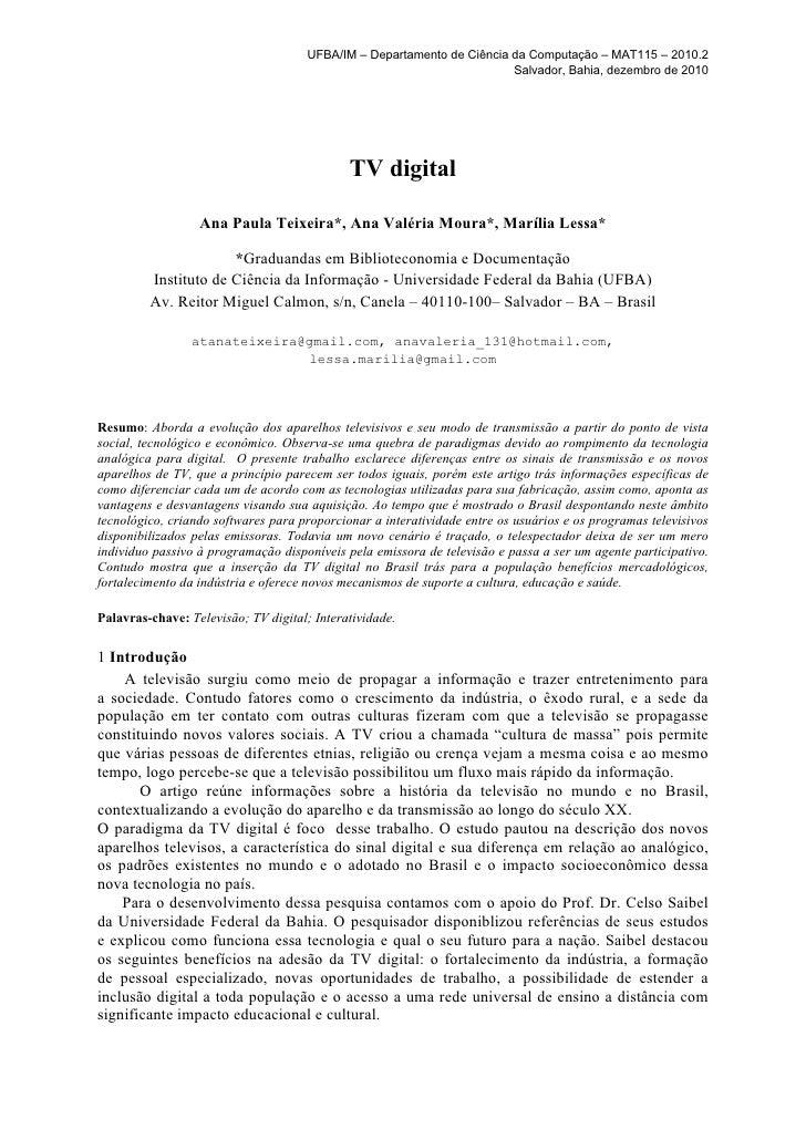 UFBA/IM – Departamento de Ciência da Computação – MAT115 – 2010.2                                                         ...
