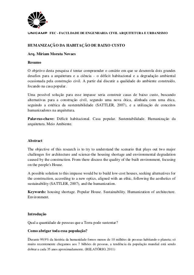 FEC - FACULDADE DE ENGENHARIA CIVIL ARQUITETURA E URBANISMO HUMANIZAÇÃO DA HABITAÇÃO DE BAIXO CUSTO Arq. Míriam Morata Nov...