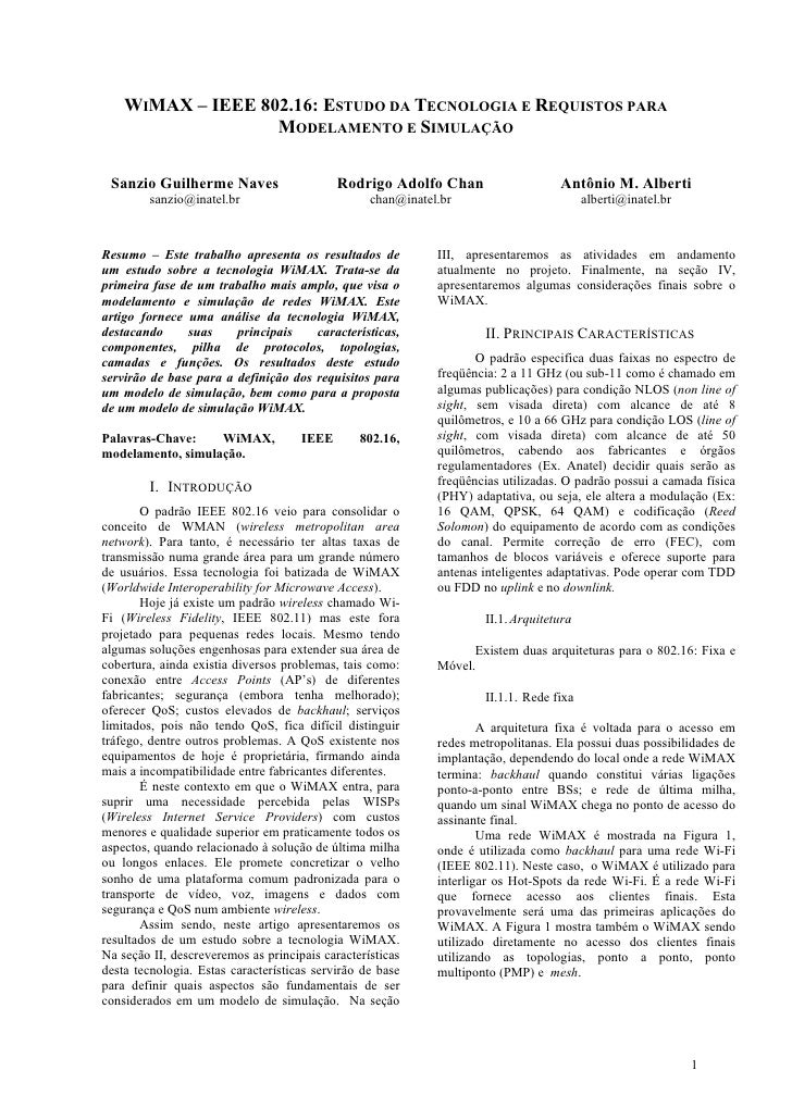 WIMAX – IEEE 802.16: ESTUDO DA TECNOLOGIA E REQUISTOS PARA MODELAMENTO E SIMULAÇÃO