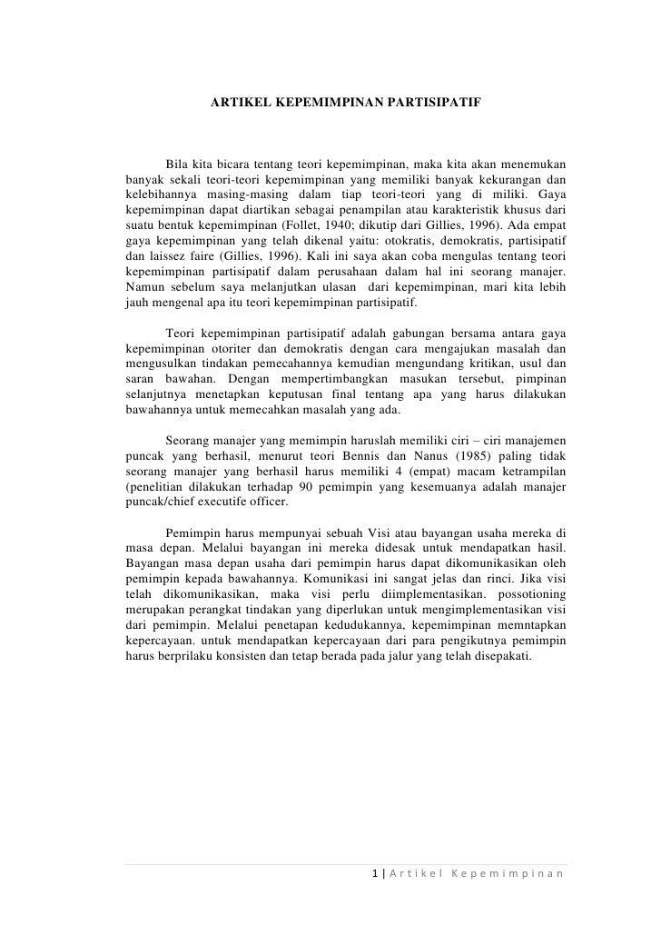 Artikel Kepemimpinan Partisipatif