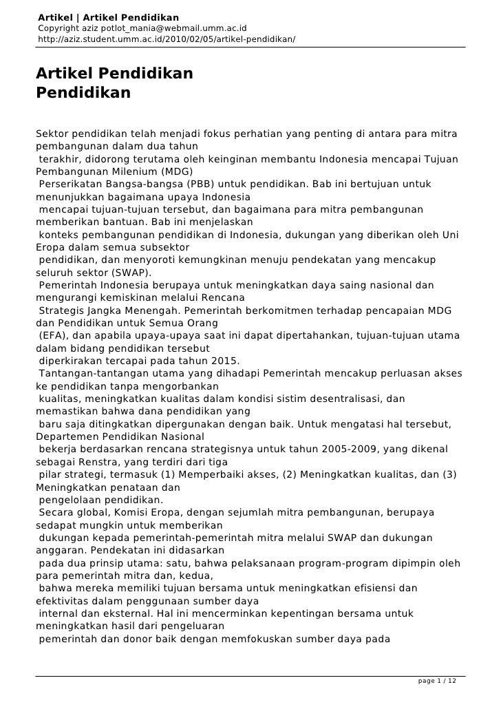 Artikel | Artikel PendidikanCopyright aziz potlot_mania@webmail.umm.ac.idhttp://aziz.student.umm.ac.id/2010/02/05/artikel-...