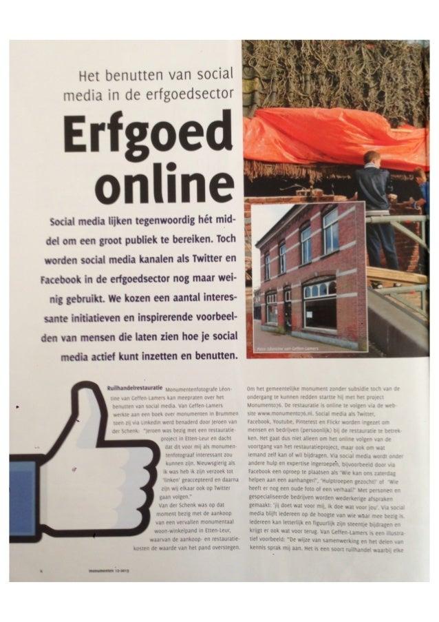 """Artikel """"Erfgoed Online - Benutten van Social Media in de Erfgoedsector"""