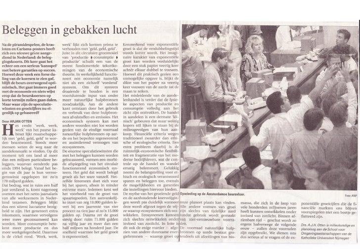 Artikel beleggen in gebakken lucht in de gelderlander 18 augustus 1997