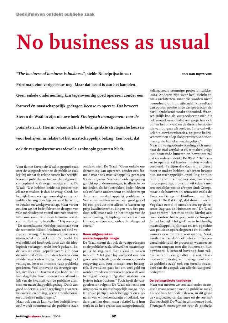 """Bedrijfsleven ontdekt publieke zaakNo business as usual""""The business of business is business"""", stelde Nobelprijswinnaar   ..."""