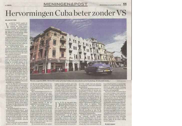 Artikel in het Parool over Cuba 9 augustus 2006