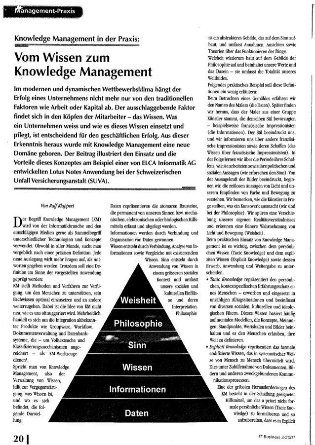 Vom Wissen zum Knowledge Management