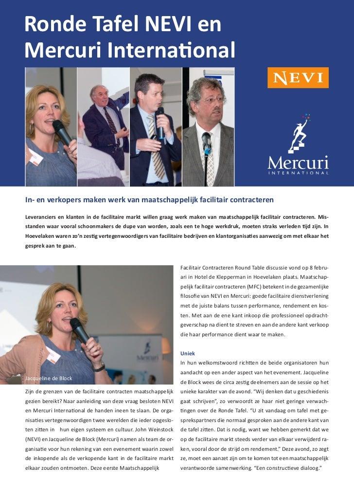 Ronde Tafel NEVI enMercuri InternationalIn- en verkopers maken werk van maatschappelijk facilitair contracterenLeverancier...