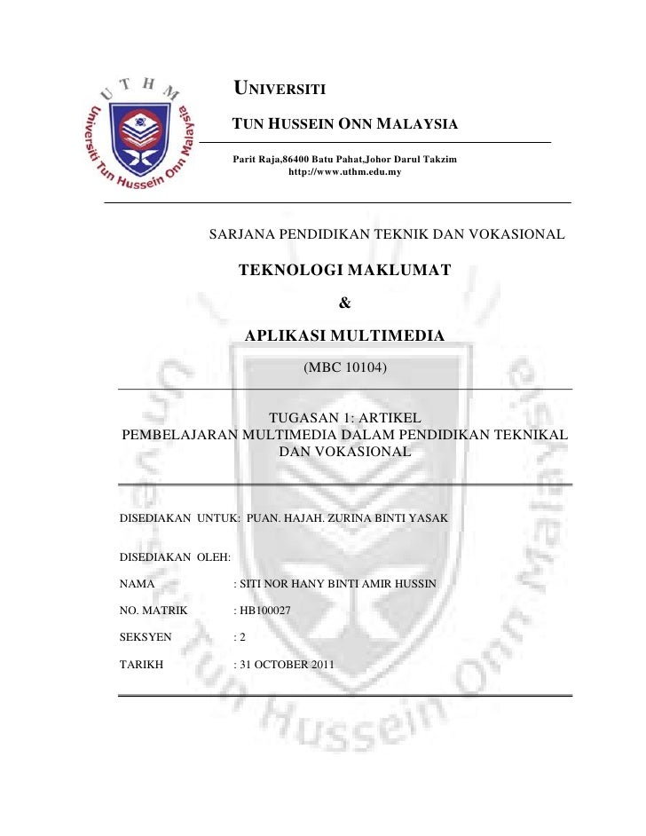 UNIVERSITI                   TUN HUSSEIN ONN MALAYSIA                   Parit Raja,86400 Batu Pahat,Johor Darul Takzim    ...
