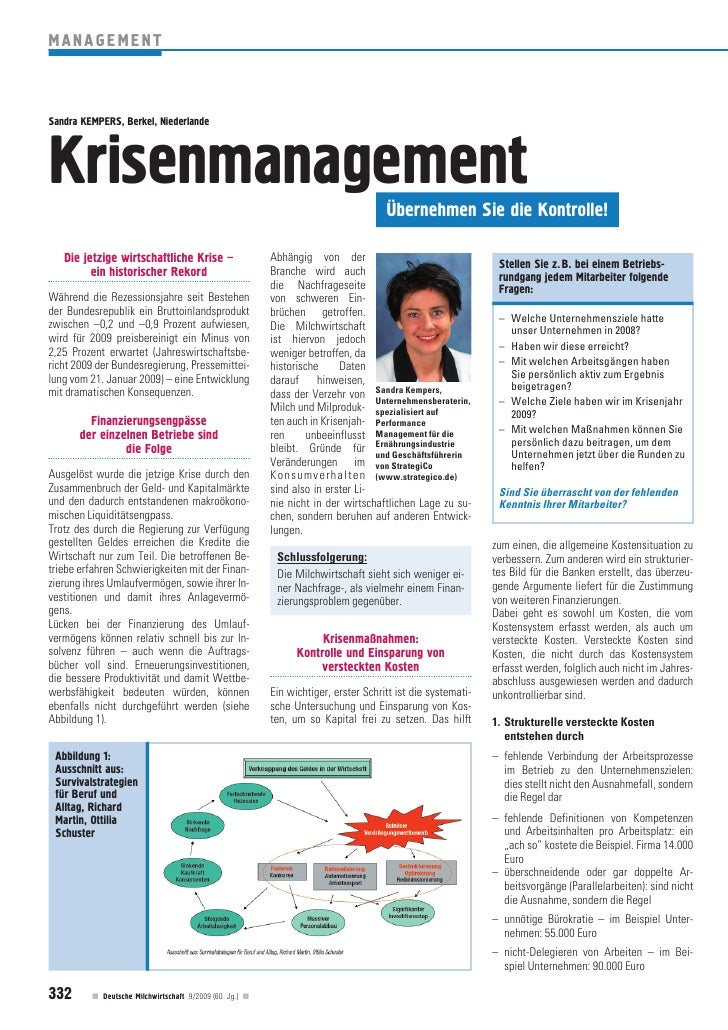 MANAGEMENT    Sandra KEMPERS, Berkel, Niederlande     Krisenmanagement                                                    ...