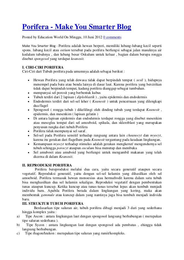 Porifera - Make You Smarter Blog   Posted by Education World On Minggu, 10 Juni 2012 0 comments   Make You Smarter Blog - ...