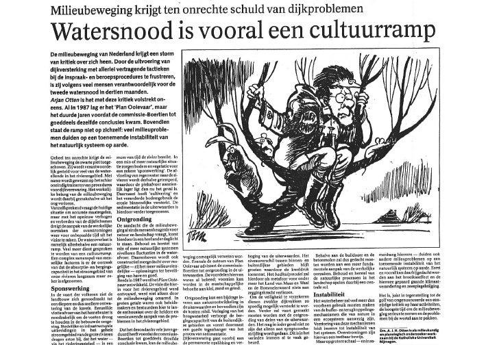 Artikel Watersnood Is Vooral Cultuurramp In Utrechts Nieuwsblad 3 Februari 1995