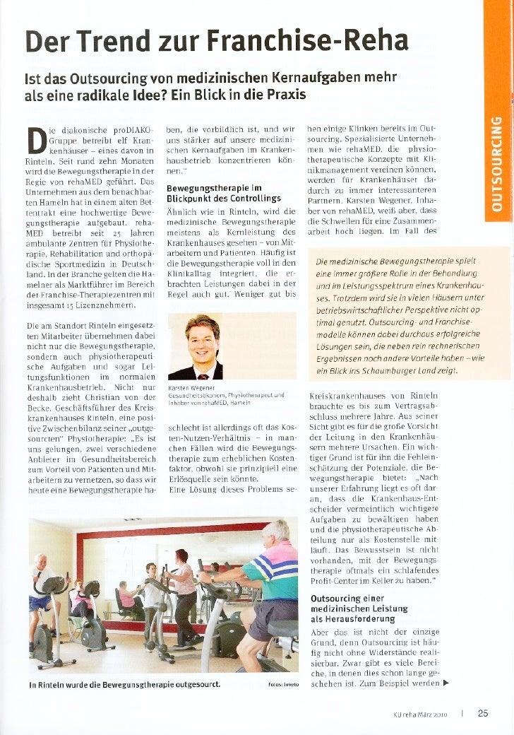 Artikel Zeitschrift Ku Krankenhausmanagement MäRz 2010 Lizenzmodell Rehamed An Kliniken