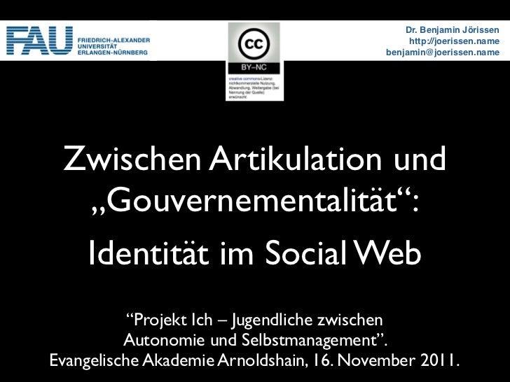 """Artikulation und """"Gouvernementalität"""": Identität im Social Web"""