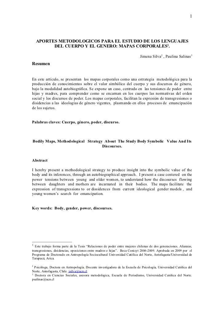 1    APORTES METODOLOGICOS PARA EL ESTUDIO DE LOS LENGUAJES          DEL CUERPO Y EL GENERO: MAPAS CORPORALES1.           ...