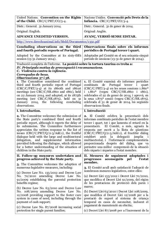 United Nations. Convention on the Rights of the Child. CRC/C/PRT/CO/3-4. Nacions Unides. Convenció pels Drets de la Infànc...