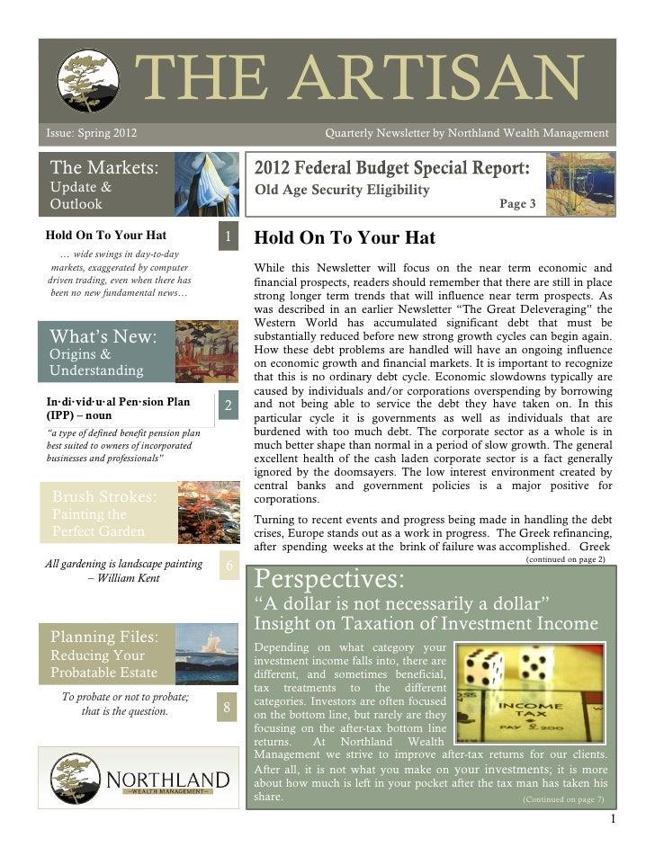 THE ARTISANIssue: Spring 2012                                                                                          The...