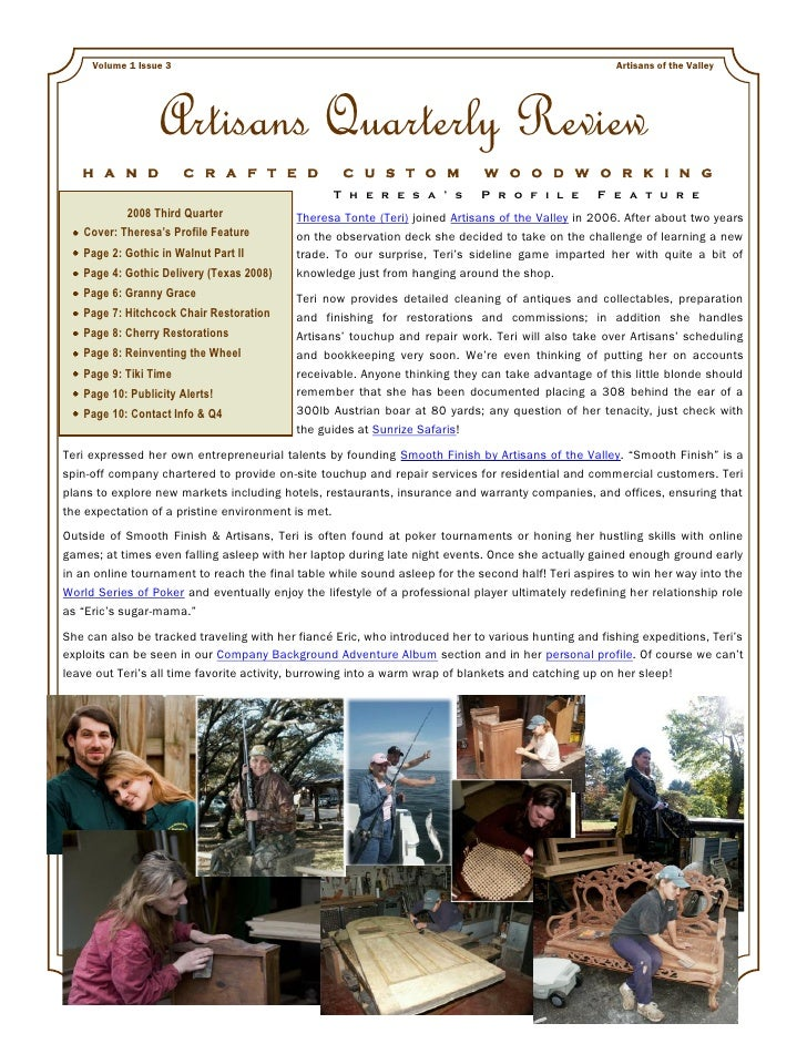Artisans Quarterly Review Vol 1 Issue 3 2008