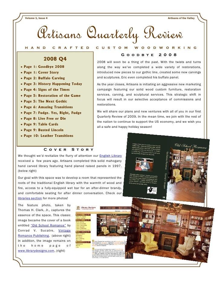 Artisans Quarterly Review Vol 1 Issue 4 2008