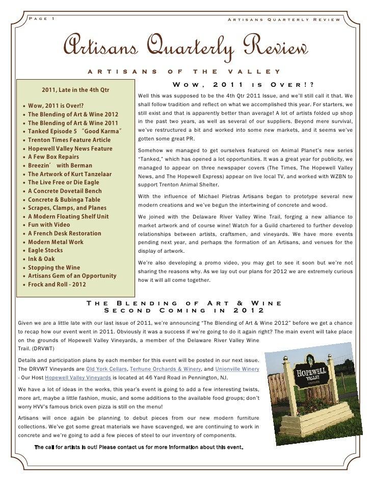Artisans quarterly review_vol4_issue4_2011