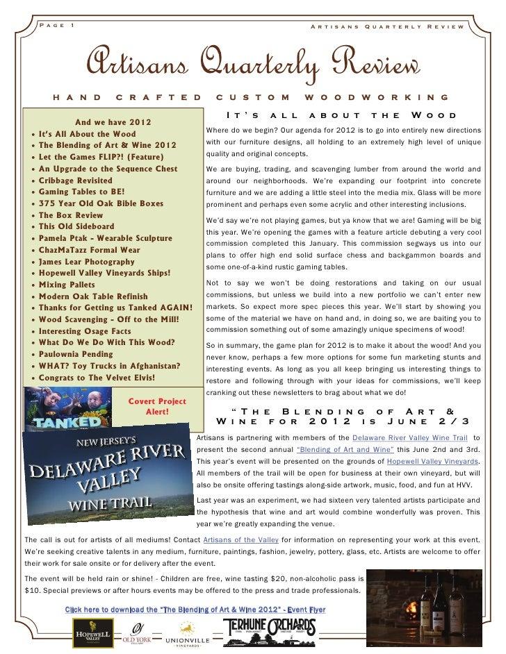 Artisans quarterly review_vol5_issue1_2012