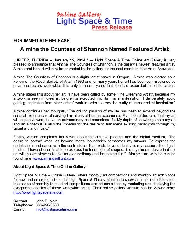 Artist Showcase - Almine the Countess of Shannon