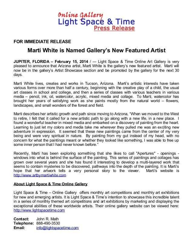 FOR IMMEDIATE RELEASE  Marti White is Named Gallery's New Featured Artist JUPITER, FLORIDA – February 15, 2014 / --- Light...