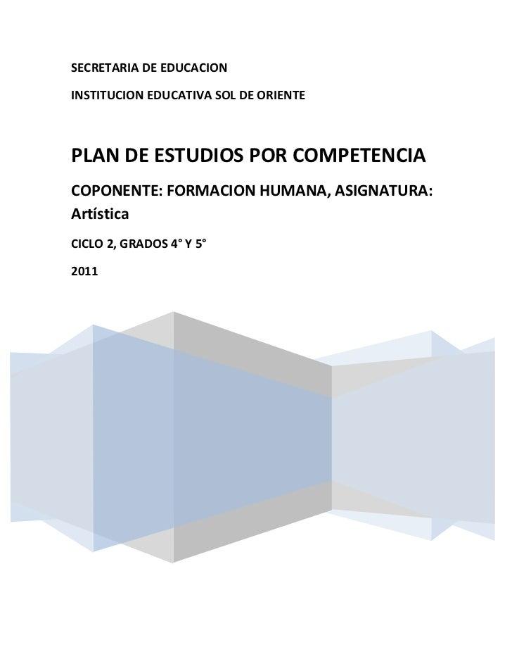 SECRETARIA DE EDUCACIONINSTITUCION EDUCATIVA SOL DE ORIENTEPLAN DE ESTUDIOS POR COMPETENCIACOPONENTE: FORMACION HUMANA, AS...