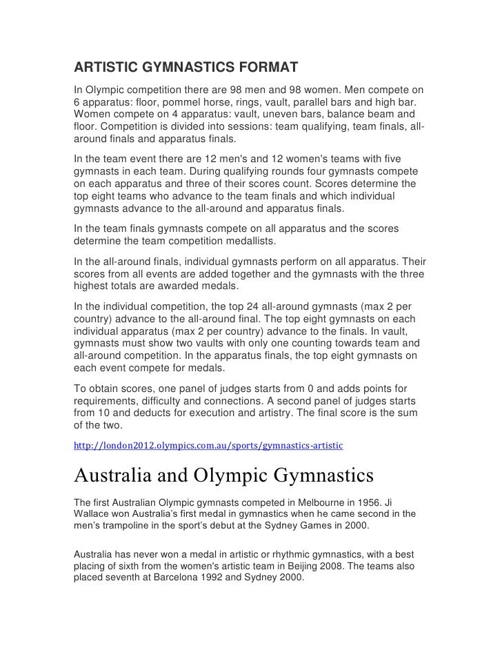 ARTISTIC GYMNASTICS FORMATIn Olympic competition there are 98 men and 98 women. Men compete on6 apparatus: floor, pommel h...