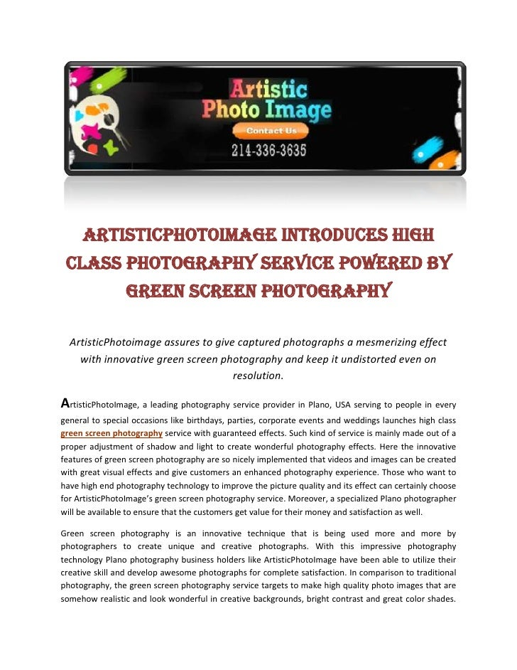 ArtisticPhotoImage Introduces High Class Photography Service Powered By Green screen photography<br />ArtisticPhotoimage a...