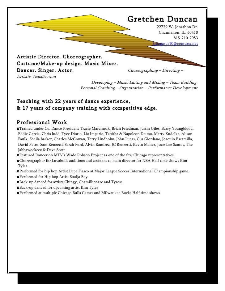 artistic resume 2010