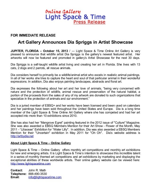 FOR IMMEDIATE RELEASE  Art Gallery Announces Dia Spriggs in Artist Showcase JUPITER, FLORIDA – October 15, 2013 / --- Ligh...