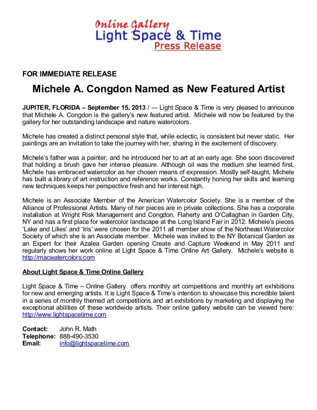 FOR IMMEDIATE RELEASE Michele A. Congdon Named as New Featured Artist JUPITER, FLORIDA – September 15, 2013 / --- Light Sp...