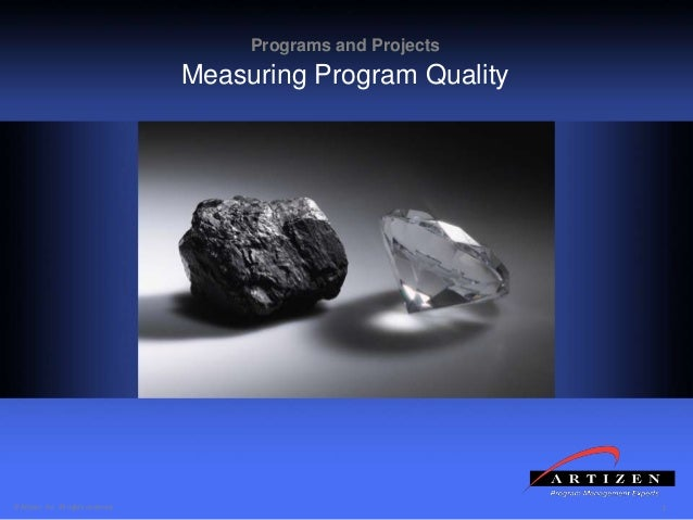 1© Artizen, Inc. All rights reserved. Programs and Projects Measuring Program Quality