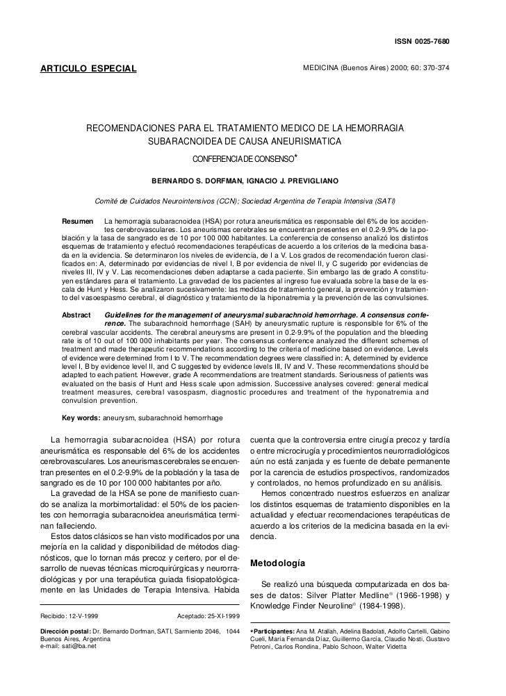 Hemorragia subaracnoidea: Tratamiento