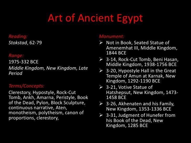 Art of Ancient Egypt<br />Reading:<br />Stokstad, 62-79<br />Range:<br />1975-332 BCE<br />Middle Kingdom, New Kingdom, La...