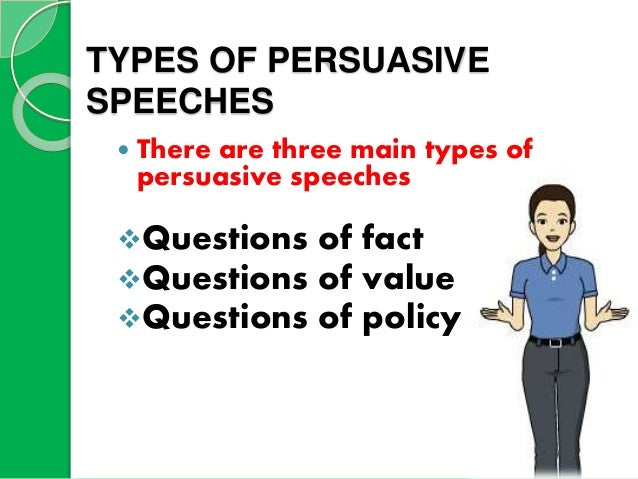 """persuasive speeches deal primarily with value fact and """"to persuade my audience that long-term exposure to electromagnetic fields can cause serious health problems"""" is a specific purpose statement for a persuasive speech on a question of."""