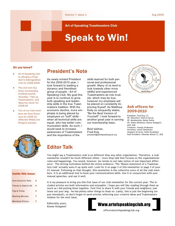 Artof Speaking Aug2009 Newsletter