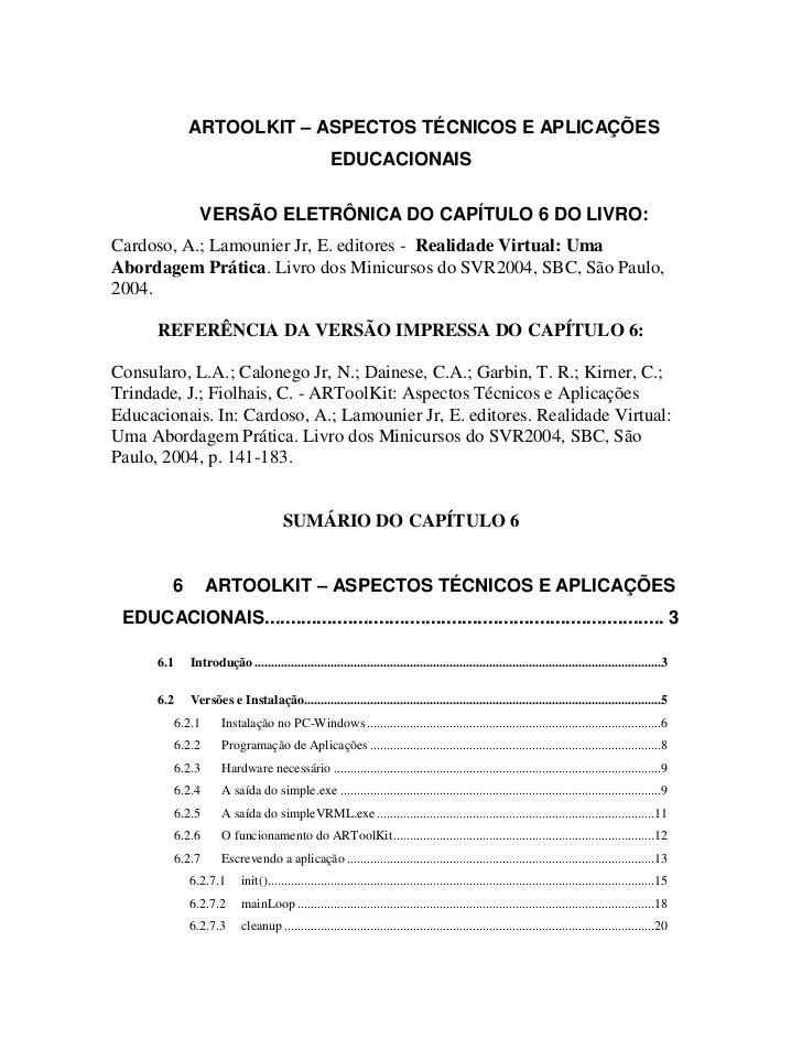 ARTOOLKIT – ASPECTOS TÉCNICOS E APLICAÇÕES                                                     EDUCACIONAIS               ...