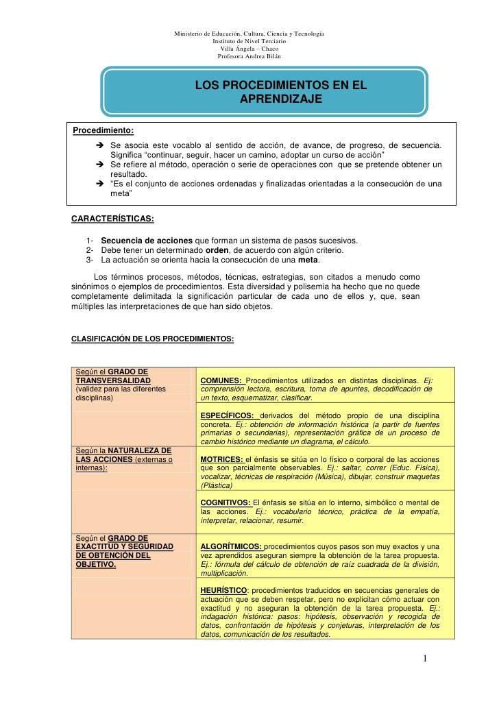 Procedimientos en el aprendizaje