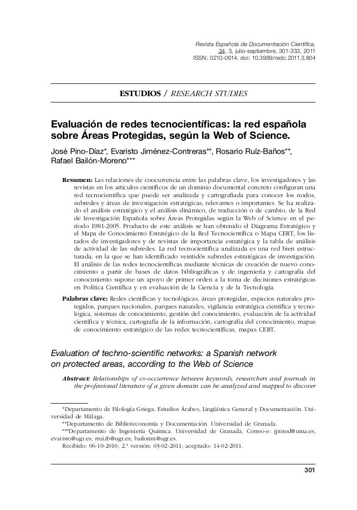 Evaluation of techno-scientific networks: a Spanish network on protected areas, according to the Web of Science.